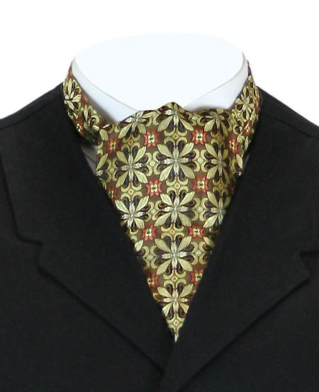 Vintage Mens Multicolor,Gold Silk Geometric Ascot | Romantic | Old Fashioned | Traditional | Classic || Silk Ascot - Gold Geometric Pattern