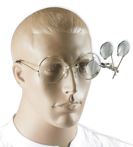 Wedding Mens Silver,Clear Alloy,Glass Magnifier | Formal | Bridal | Prom | Tuxedo || Triple Clip-On Magnifying Loupy - Silver Tone