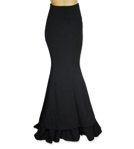 Steampunk Ladies Black Solid Dress Skirt | Gothic | Pirate | LARP | Cosplay | Retro | Vampire || Vivien Fishtail Skirt - Black