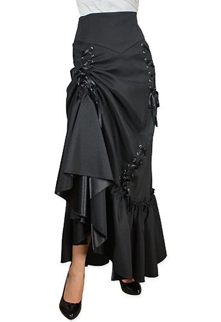 1800s Ladies Black Solid Dress Skirt | 19th Century | Historical | Period Clothing | Theatrical || Marguerite Skirt - Black