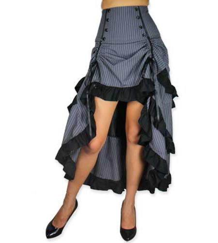 Wedding Ladies Gray Stripe Dress Skirt | Formal | Bridal | Prom | Tuxedo || Lorena Skirt - Gray