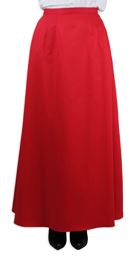 Victorian Ladies Red Cotton Solid Dress Skirt | Dickens | Downton Abbey | Edwardian || Cotton Twill Walking Skirt - Red