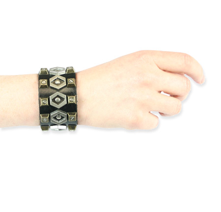 Vintage Ladies Black Leather Bracelet | Romantic | Old Fashioned | Traditional | Classic || Sprocket Brace - Black Leather