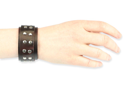 Steampunk Ladies Brown Leather Bracelet | Gothic | Pirate | LARP | Cosplay | Retro | Vampire || Silver Studs Brace - Brown Leather