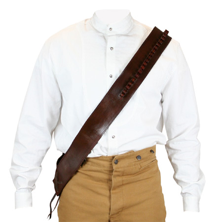 Wedding Mens Brown Leather Un-Tooled Bandolier | Formal | Bridal | Prom | Tuxedo || (.44/.45 cal) Bandolier - Brown Leather