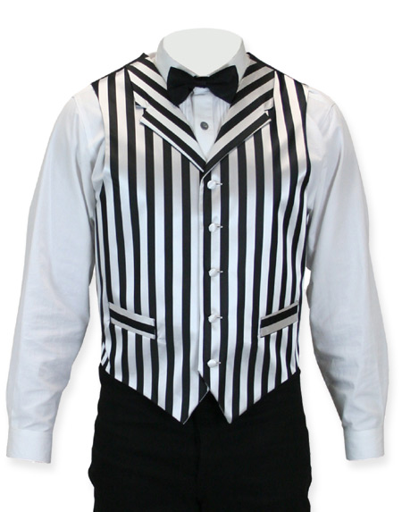 1800s Mens Black,White Stripe Notch Collar Dress Vest | 19th Century | Historical | Period Clothing | Theatrical || Ragtime Vest - Black/White Stripe