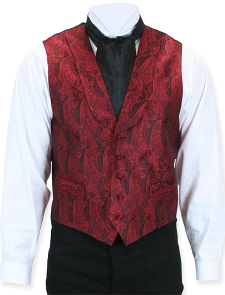 Victorian Mens Red Silk Print Shawl Collar Dress Vest   Dickens   Downton Abbey   Edwardian    Ambassador Silk Vest - Red