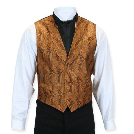 Victorian Mens Brown Silk Print Shawl Collar Dress Vest | Dickens | Downton Abbey | Edwardian || Ambassador Silk Vest - Rust