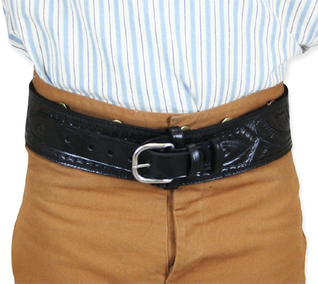 Vintage Mens Black Leather Tooled Cartridge Belt   Romantic   Old Fashioned   Traditional   Classic    (.38/.357 cal) High-Rider Western Cartridge Belt - Black Tooled Leather