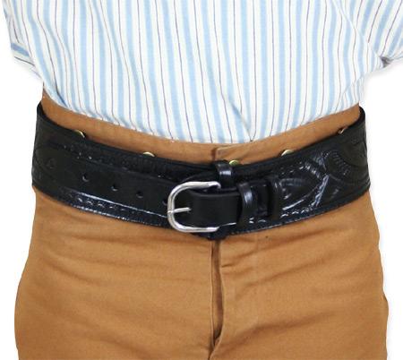 Wedding Mens Black Leather Tooled Cartridge Belt | Formal | Bridal | Prom | Tuxedo || (.22 cal) High-Rider Western Cartridge Belt - Black Tooled Leather