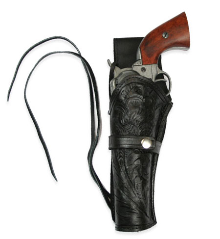 Wedding Mens Black Leather Tooled Holster | Formal | Bridal | Prom | Tuxedo || Western Holster - LH Draw - Black Tooled Leather