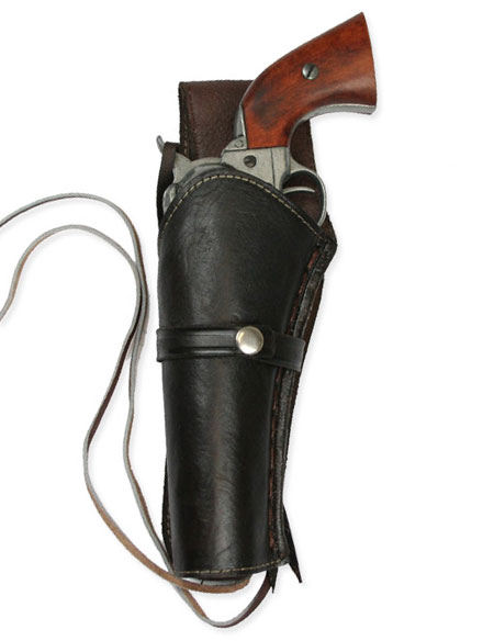1800s Mens Brown Leather Un-Tooled Holster | 19th Century | Historical | Period Clothing | Theatrical || Western Holster - LH Draw - Plain Brown Leather
