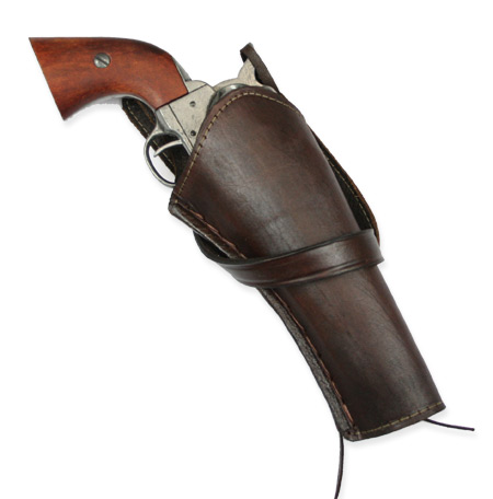 1800s Mens Brown Leather Un-Tooled Holster | 19th Century | Historical | Period Clothing | Theatrical || Western Holster - RH Cross-Draw - Plain Brown Leather
