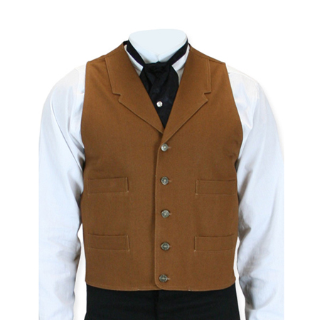 Vintage Mens Brown,Tan Cotton Solid Notch Collar Work Vest | Romantic | Old Fashioned | Traditional | Classic || Abilene Vest - Tan