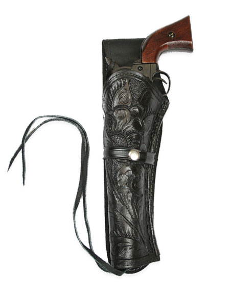 Steampunk Mens Black Leather Tooled Holster | Gothic | Pirate | LARP | Cosplay | Retro | Vampire || Western Holster - LH Draw (Long Barrel) - Black Tooled Leather