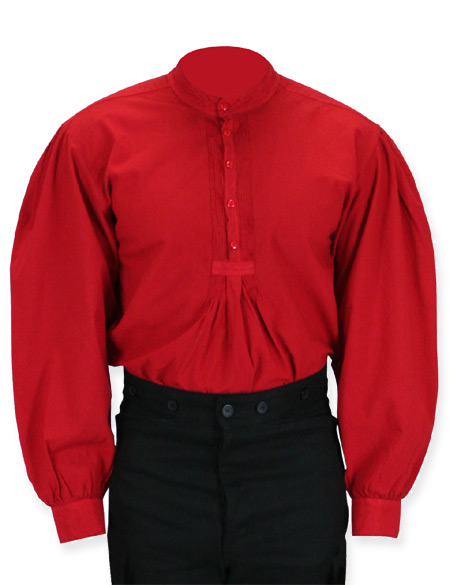 1800s Mens Red Cotton Solid Band Collar Work Shirt | 19th Century | Historical | Period Clothing | Theatrical || Fundamental Work Shirt - Red