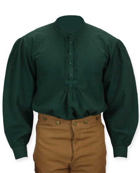 Vintage Mens Green Cotton Solid Band Collar Work Shirt | Romantic | Old Fashioned | Traditional | Classic || Fundamental Work Shirt - Forest Green