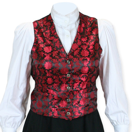 Vintage Ladies Red Floral Notch Collar Dress Vest | Romantic | Old Fashioned | Traditional | Classic || Lilibeth Ladies Vest - Red