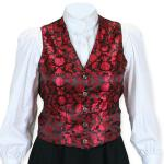 Victorian,Old West, Ladies Vests Red Satin,Synthetic,Microfiber Floral Dress Vests |Antique, Vintage, Old Fashioned, Wedding, Theatrical, Reenacting Costume |