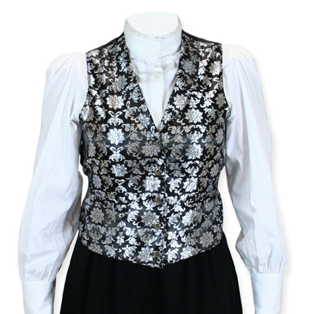 Wedding Ladies Silver Floral Notch Collar Dress Vest | Formal | Bridal | Prom | Tuxedo || Lilibeth Ladies Vest - Silver