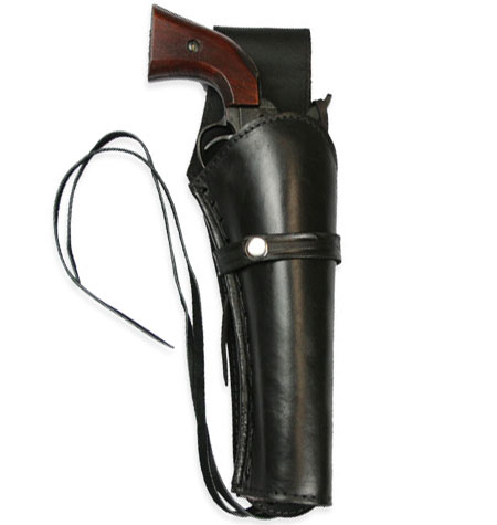 1800s Mens Black Leather Un-Tooled Holster | 19th Century | Historical | Period Clothing | Theatrical || Western Holster - RH Draw (Long Barrel) - Plain Black Leather