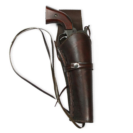 Vintage Mens Brown Leather Un-Tooled Holster | Romantic | Old Fashioned | Traditional | Classic || Western Holster - RH Draw (Long Barrel) - Plain Brown Leather