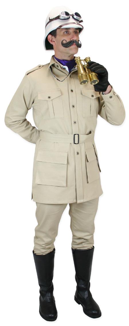 Victorian Mens Brown,Tan Cotton Solid Point Collar Safari Coat   Dickens   Downton Abbey   Edwardian    Deluxe Safari Bush Jacket - Khaki