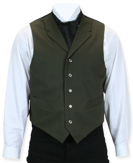 1800s Mens Green Stripe Notch Collar Dress Vest | 19th Century | Historical | Period Clothing | Theatrical || Comstock Vest - Olive