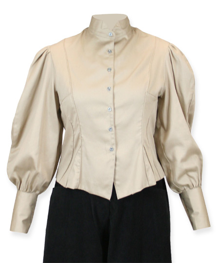 Vintage Ladies Brown,Tan Cotton Solid Wing Tip Collar Blouse | Romantic | Old Fashioned | Traditional | Classic || Bella Blouse - Khaki