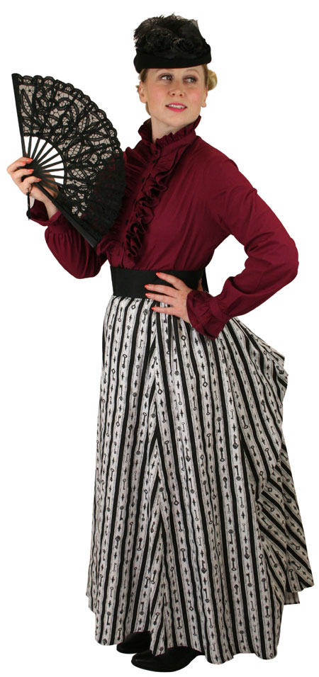 Steampunk Ladies Gray,Black,White Cotton Stripe,Print Dress Skirt | Gothic | Pirate | LARP | Cosplay | Retro | Vampire || Odessa Skirt - Antique Keys