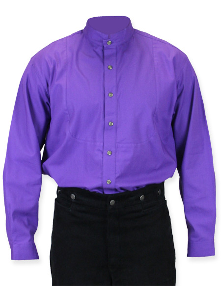 1800s Mens Purple Cotton Solid Stand Collar Dress Shirt | 19th Century | Historical | Period Clothing | Theatrical || High Stand Victorian Shirt - Purple