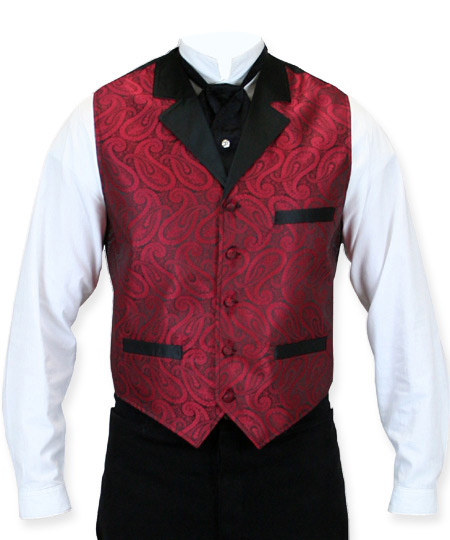 1800s Mens Red Paisley Notch Collar Dress Vest | 19th Century | Historical | Period Clothing | Theatrical || Knox Vest - Red
