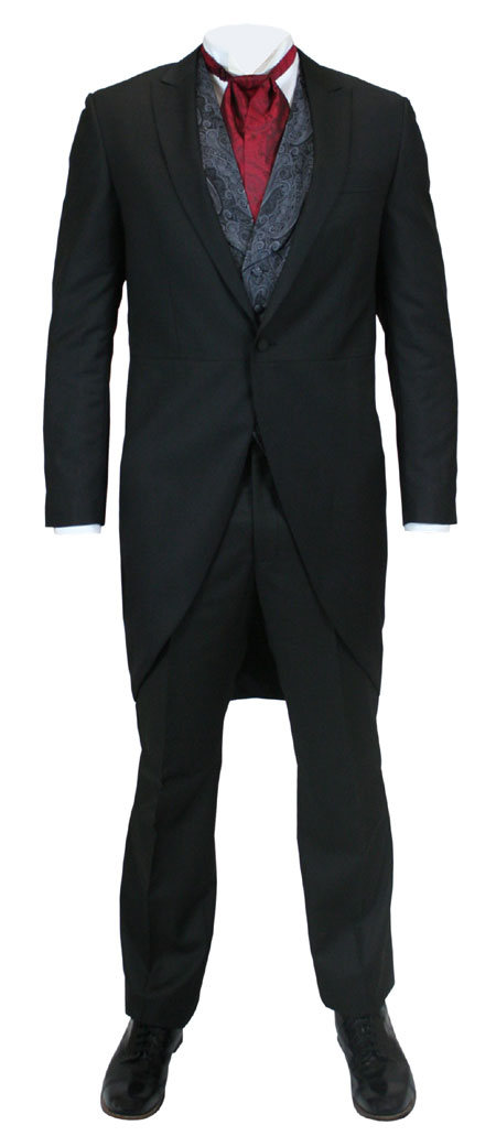 Victorian Mens Black Solid Peak Collar Suit | Dickens | Downton Abbey | Edwardian || 2-Piece Cutaway Suit - Black