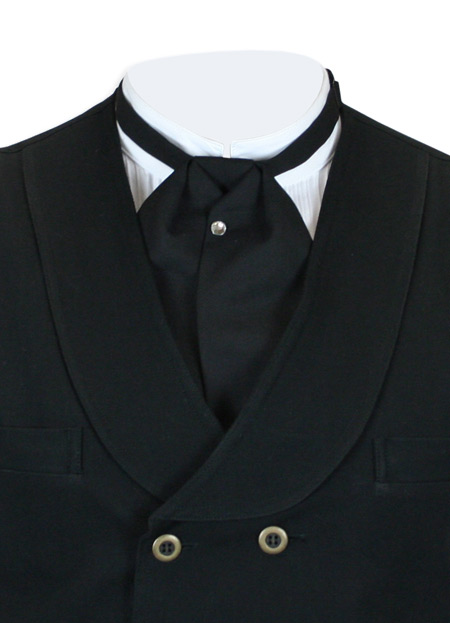 Steampunk Mens Black Solid Puff Tie | Gothic | Pirate | LARP | Cosplay | Retro | Vampire || Matte Black Puff Tie