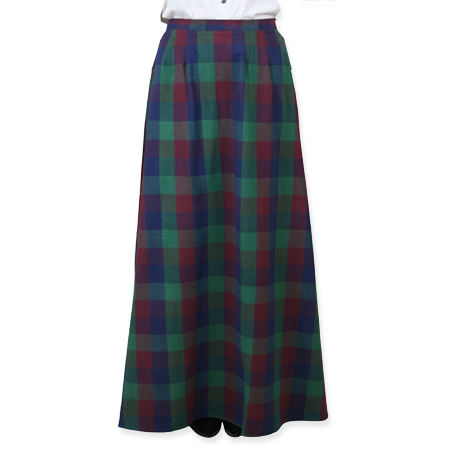 Steampunk Ladies Green,Blue,Red Cotton Plaid Work Skirt | Gothic | Pirate | LARP | Cosplay | Retro | Vampire || Cotton Walking Skirt - Plaid