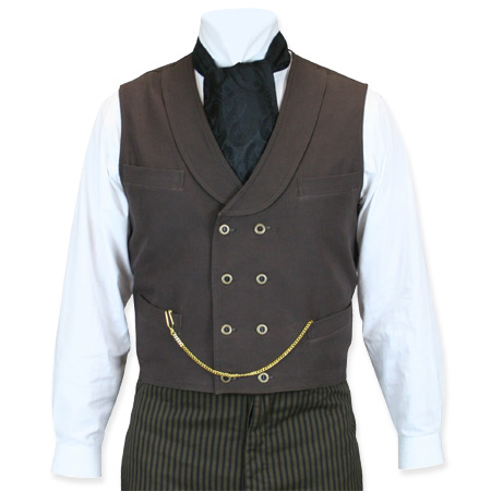 Victorian Mens Brown Cotton Solid Shawl Collar Work Vest | Dickens | Downton Abbey | Edwardian || Canvas Double Breasted Vest - Walnut