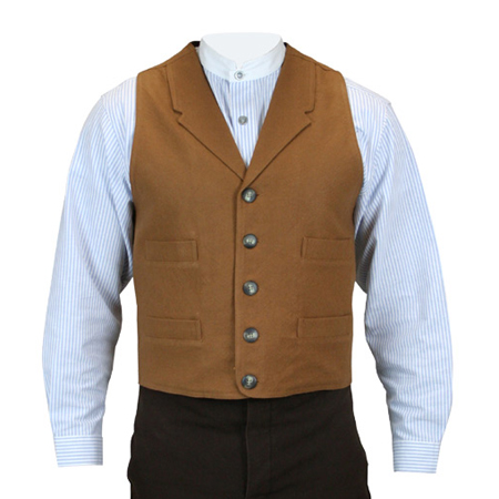 1800s Mens Brown Cotton Blend Solid Notch Collar Dress Vest | 19th Century | Historical | Period Clothing | Theatrical || Fulton Vest - Rust
