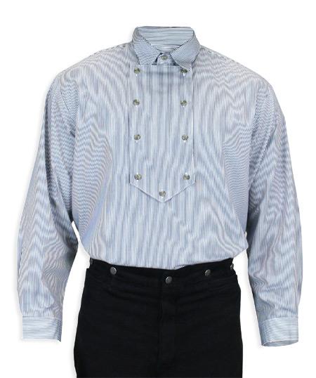 Vintage Mens Blue,White Cotton Stripe Point Collar Bib Shirt | Romantic | Old Fashioned | Traditional | Classic || Appaloosa Shirt - Blue Stripe
