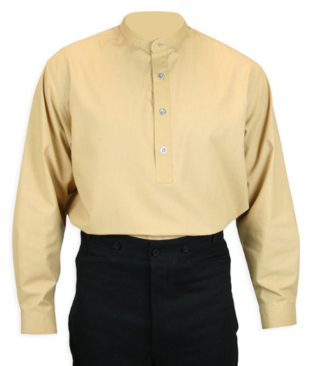 Victorian Mens Gold,Yellow Cotton Blend Solid Band Collar Work Shirt | Dickens | Downton Abbey | Edwardian || Rockvale Shirt - Gold