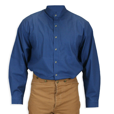 Victorian Mens Blue Cotton Solid Stand Collar Work Shirt   Dickens   Downton Abbey   Edwardian    Topeka Shirt - Navy