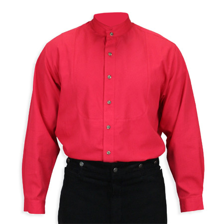 Victorian Mens Red Cotton Solid Stand Collar Work Shirt | Dickens | Downton Abbey | Edwardian || Topeka Shirt - Red