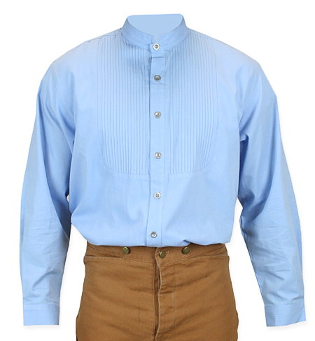 Vintage Mens Blue Cotton Solid Band Collar Dress Shirt | Romantic | Old Fashioned | Traditional | Classic || Morgan Pleated Dress Shirt - Blue