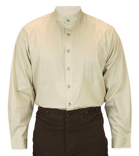 Wedding Mens Brown,Tan Cotton Solid Band Collar Dress Shirt | Formal | Bridal | Prom | Tuxedo || Morgan Pleated Dress Shirt - Tan