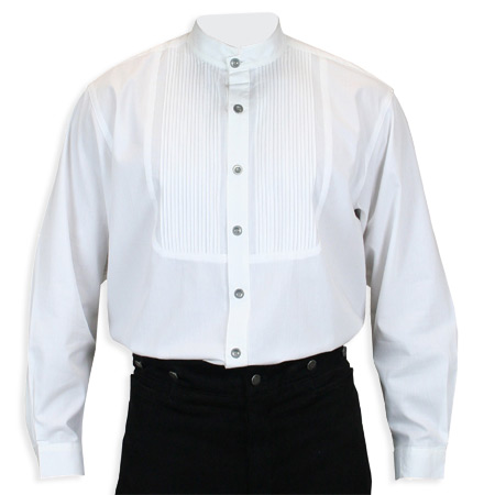 Wedding Mens White Cotton Solid Band Collar Dress Shirt | Formal | Bridal | Prom | Tuxedo || Morgan Pleated Dress Shirt - White