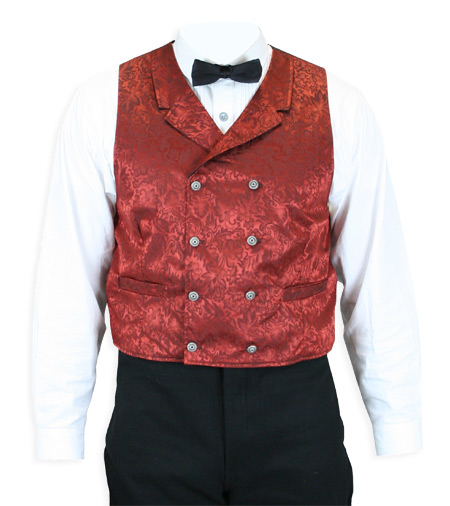 Wedding Mens Red Silk Floral Notch Collar Dress Vest | Formal | Bridal | Prom | Tuxedo || Baker City Silk Vest - Rust