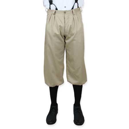 Victorian Mens Brown,Tan Cotton Solid Knicker   Dickens   Downton Abbey   Edwardian    Mens Knickers - Khaki Twill