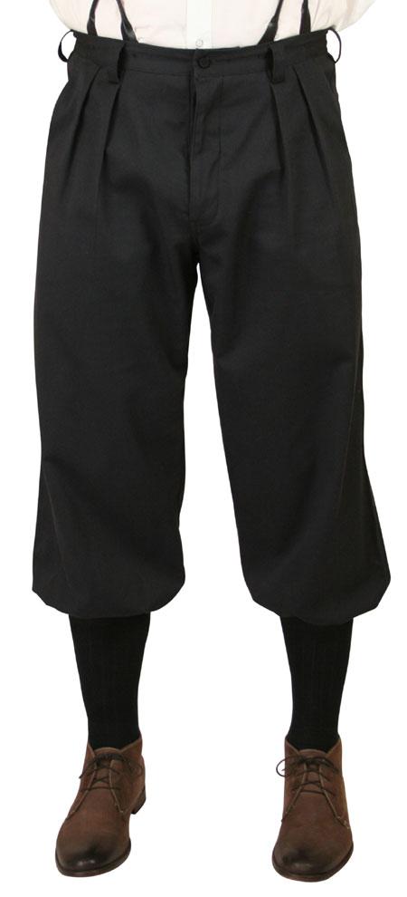 Steampunk Mens Black Cotton Solid Knicker | Gothic | Pirate | LARP | Cosplay | Retro | Vampire || Mens Knickers - Black Twill