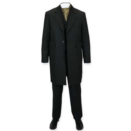 1800s Mens Black Solid Notch Collar Frock Coat | 19th Century | Historical | Period Clothing | Theatrical || Brewster Frock Coat - Black
