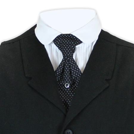 Victorian Mens Black,White Cotton Geometric Teck Tie | Dickens | Downton Abbey | Edwardian || Cotton Teck Tie - Black Polka Dot