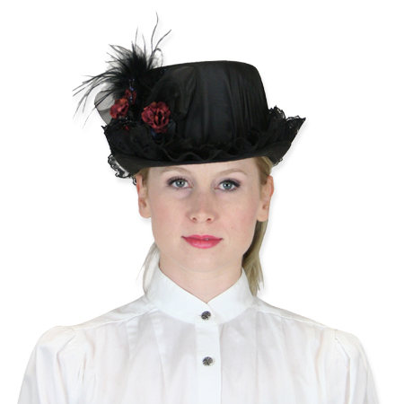Vintage Ladies Black,Burgundy Straw,Lace,Satin Riding Hat | Romantic | Old Fashioned | Traditional | Classic || Riding Hat - Black & Burgundy